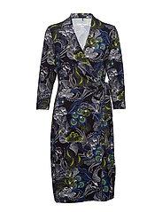 DRESS KNITTED FABRIC - BLUE/GREEN PRINT