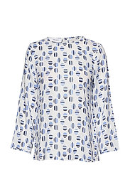 BLOUSE LONG-SLEEVE - OFFWHITE-BLUE-NAVY