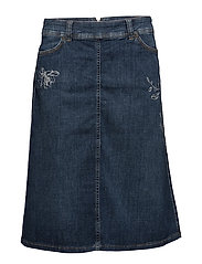 SKIRT SHORT WOVEN FA - DARK BLUE DENIM WITH USE