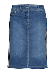 SKIRT SHORT WOVEN FA - BLUE DENIM WITH USE