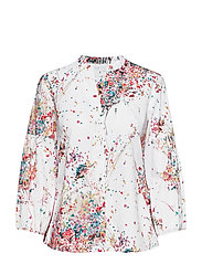 BLOUSE 3/4-SLEEVE - WHITE-COLORFUL