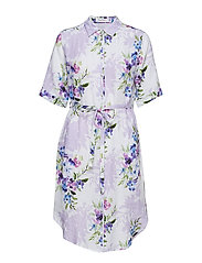 DRESS WOVEN FABRIC - LAVENDER-WHITE-GREEN
