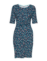 DRESS KNITTED FABRIC - BLUE/ECRU/WHITE PRINT