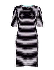 DRESS KNITTED FABRIC - BLUE/ECRU/WHITE PATCH