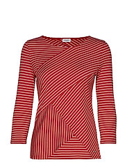 T-SHIRT 3/4-SLEEVE R - RED/ORANGE/ECRU/WHITE HOOPS