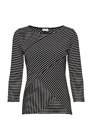 T-SHIRT 3/4-SLEEVE R - BLACK/ECRU/WHITE HOOPS