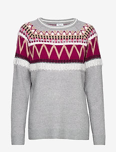 PULLOVER LONG-SLEEVE - swetry - grey/lilac/pink figured