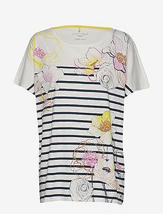 T-SHIRT SHORT-SLEEVE - striped t-shirts - ecru/white/blue print