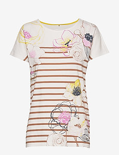 T-SHIRT SHORT-SLEEVE - stribede t-shirts - ecru/white/brown print