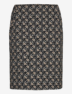 SKIRT SHORT WOVEN FA - midi kjolar - black/brown figured