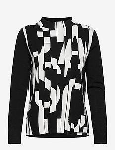 PULLOVER LONG-SLEEVE - pulls - black/ecru/white figured