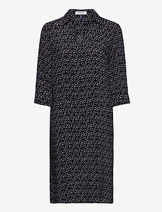 DRESS WOVEN FABRIC - skjortklänningar - black/ecru/white figured