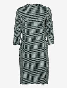 DRESS KNITTED FABRIC - robes midi - green print