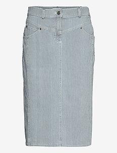SKIRT SHORT WOVEN FA - midi skirts - blue-white