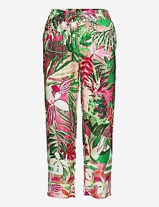 CROP LEISURE TROUSER - wide leg trousers - pink/green