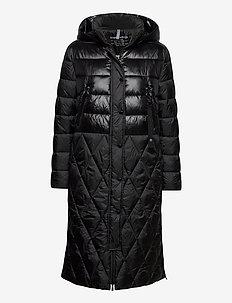 COAT NOT WOOL - wyściełane płaszcze - black