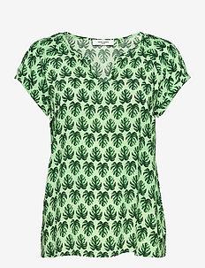 BLOUSE SHORT-SLEEVE - short-sleeved blouses - green print