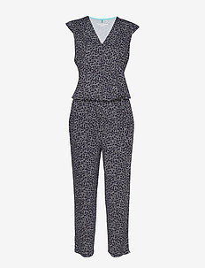 TROUSERS KNITTED FAB - combinaisons - blue/ecru/white print