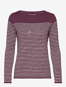 PULLOVER LONG-SLEEVE - LILAC/PINK/ECRU/WHITE HOOPS