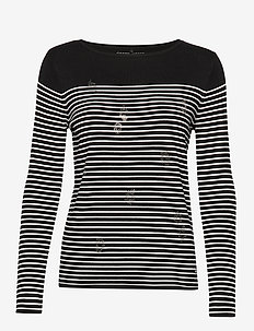 PULLOVER LONG-SLEEVE - stribede t-shirts - black/ecru/white hoops