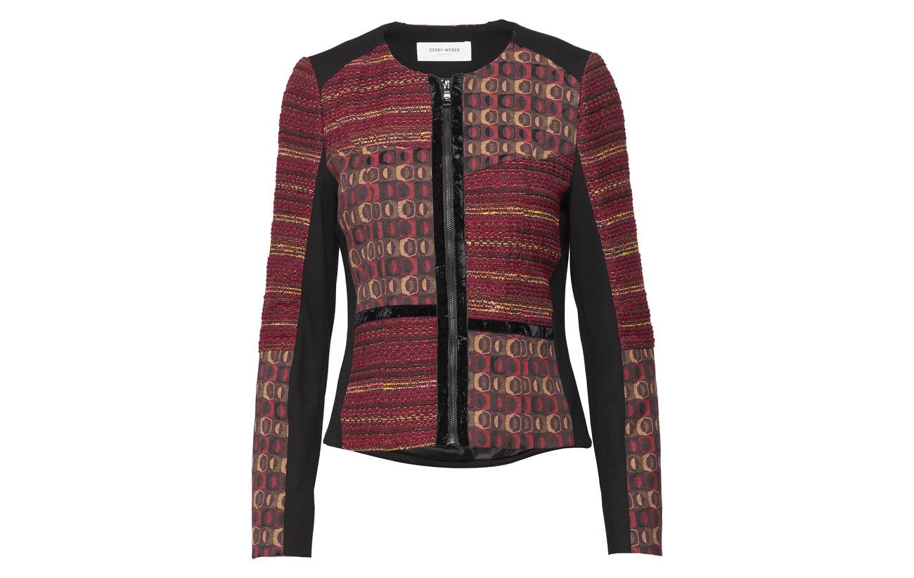 orange 4 Polyester Coton 50 sleeve Red Elastane black Patch Blazer Weber Long 46 Gerry q7pwRXzz