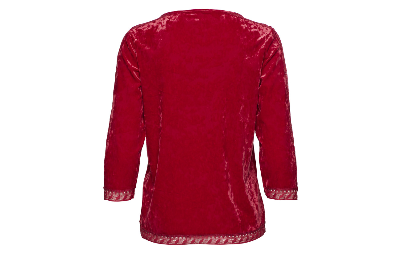 3 90 Elastane Gerry 10 Chili Polyester sleeve Blouse Weber 4 xq4S7RE