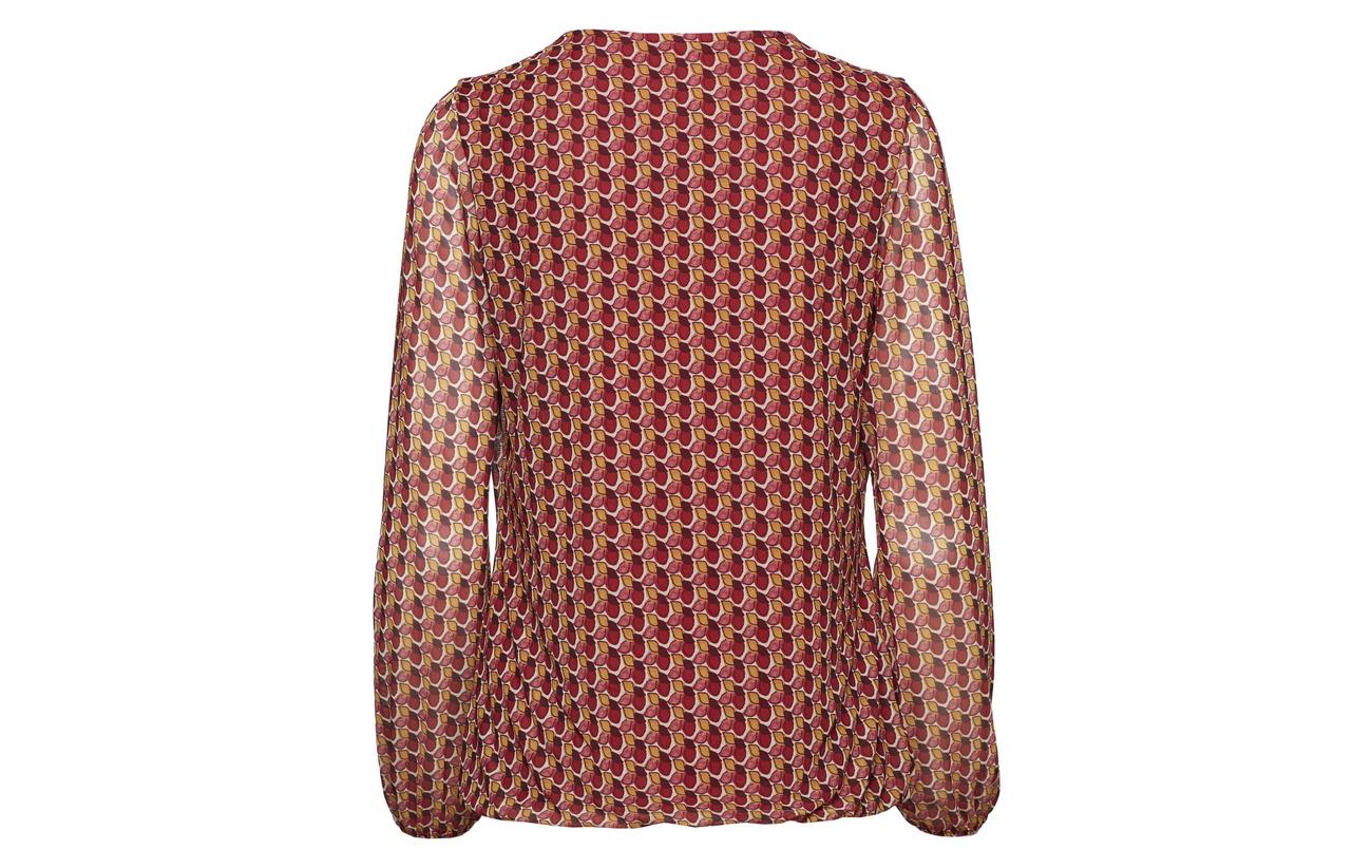 7 Elastane Print Chili Gerry Cream Weber 93 T Merlot Polyester sleeve Long shirt x7PxC4qH