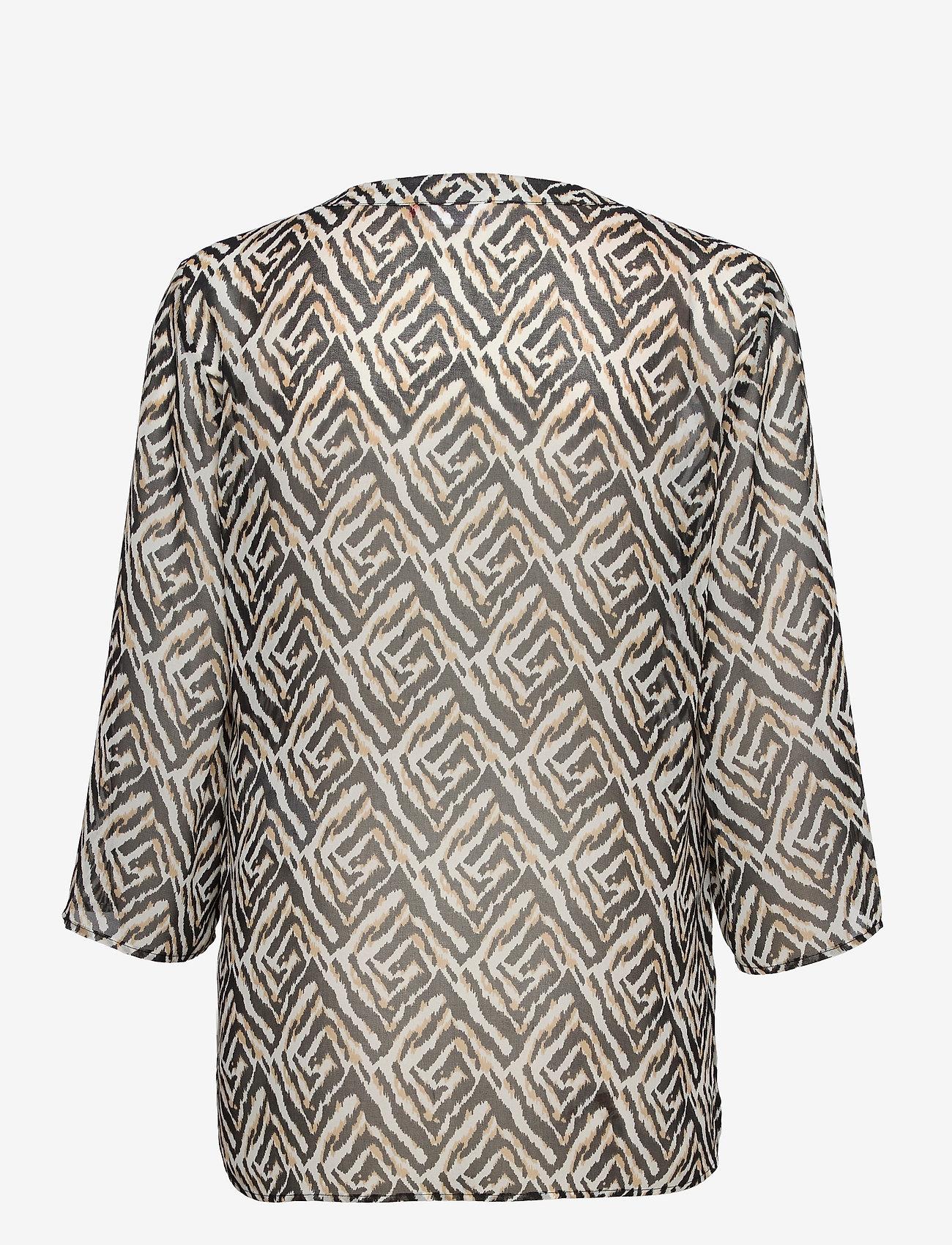 Gerry Weber - BLOUSE 3/4-SLEEVE - blouses à manches longues - ecru black sahara print - 1