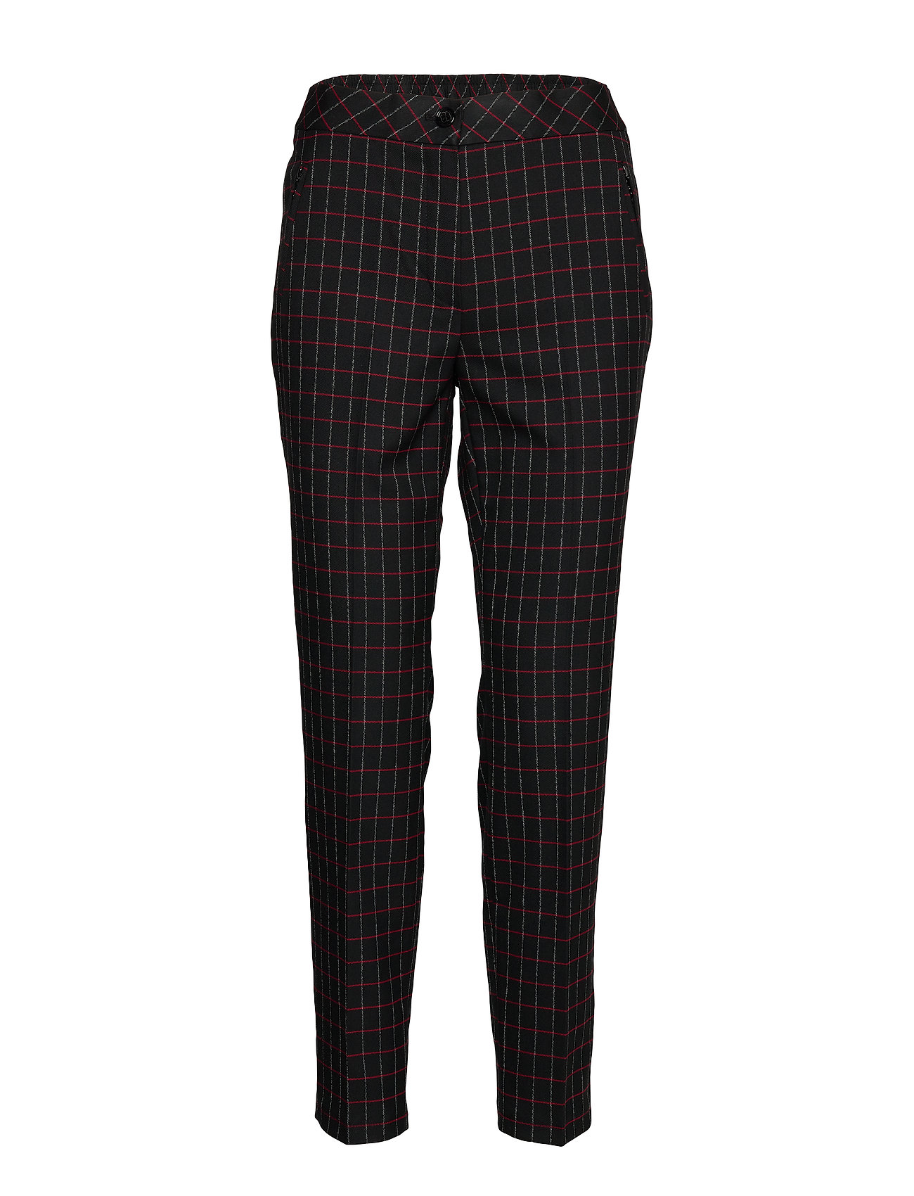 Gerry Weber CROP LEISURE TROUSER - BLACK/RED/ORANGE CHECK