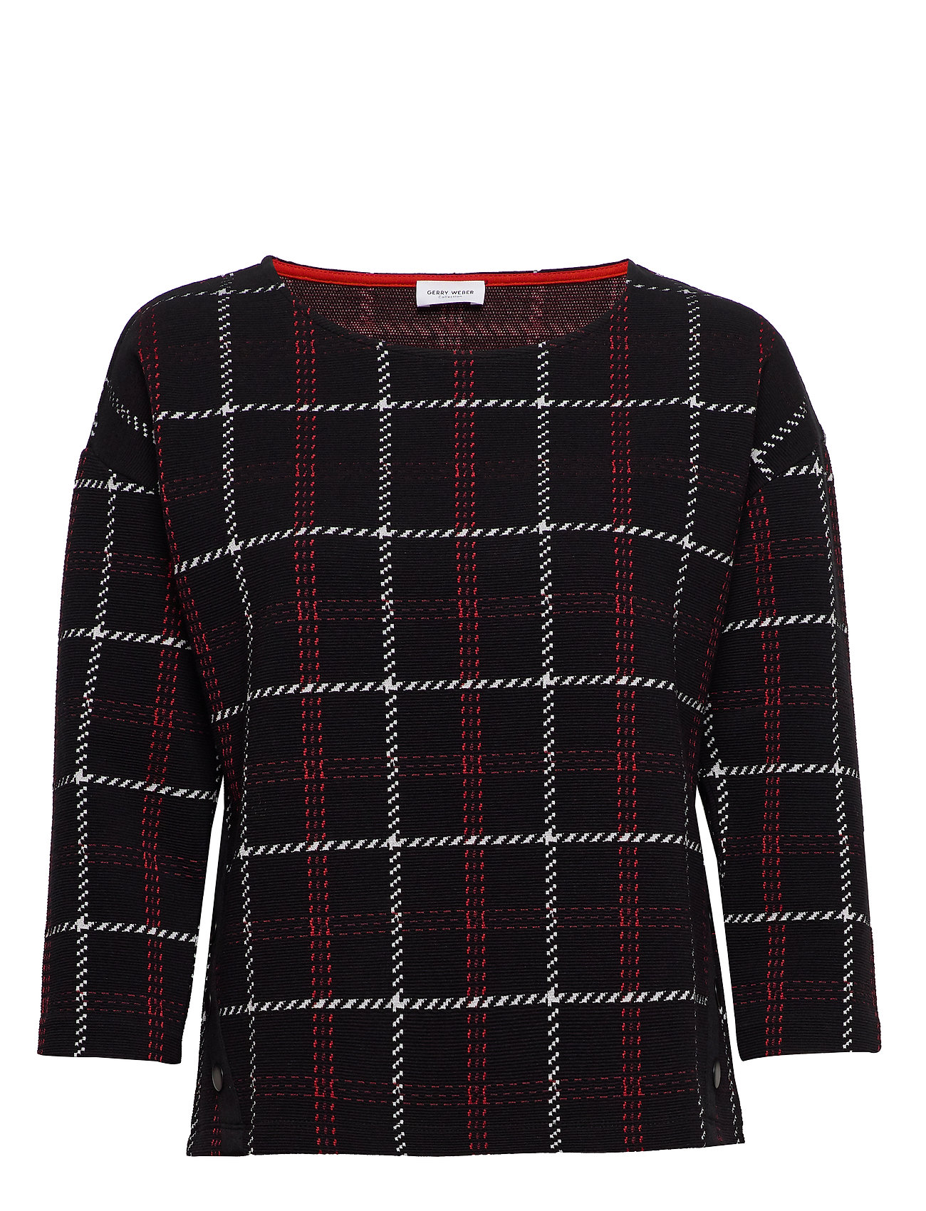 Gerry Weber SWEAT-SHIRT SHORT-SL - BLACK OFFWHITE RED CHECK