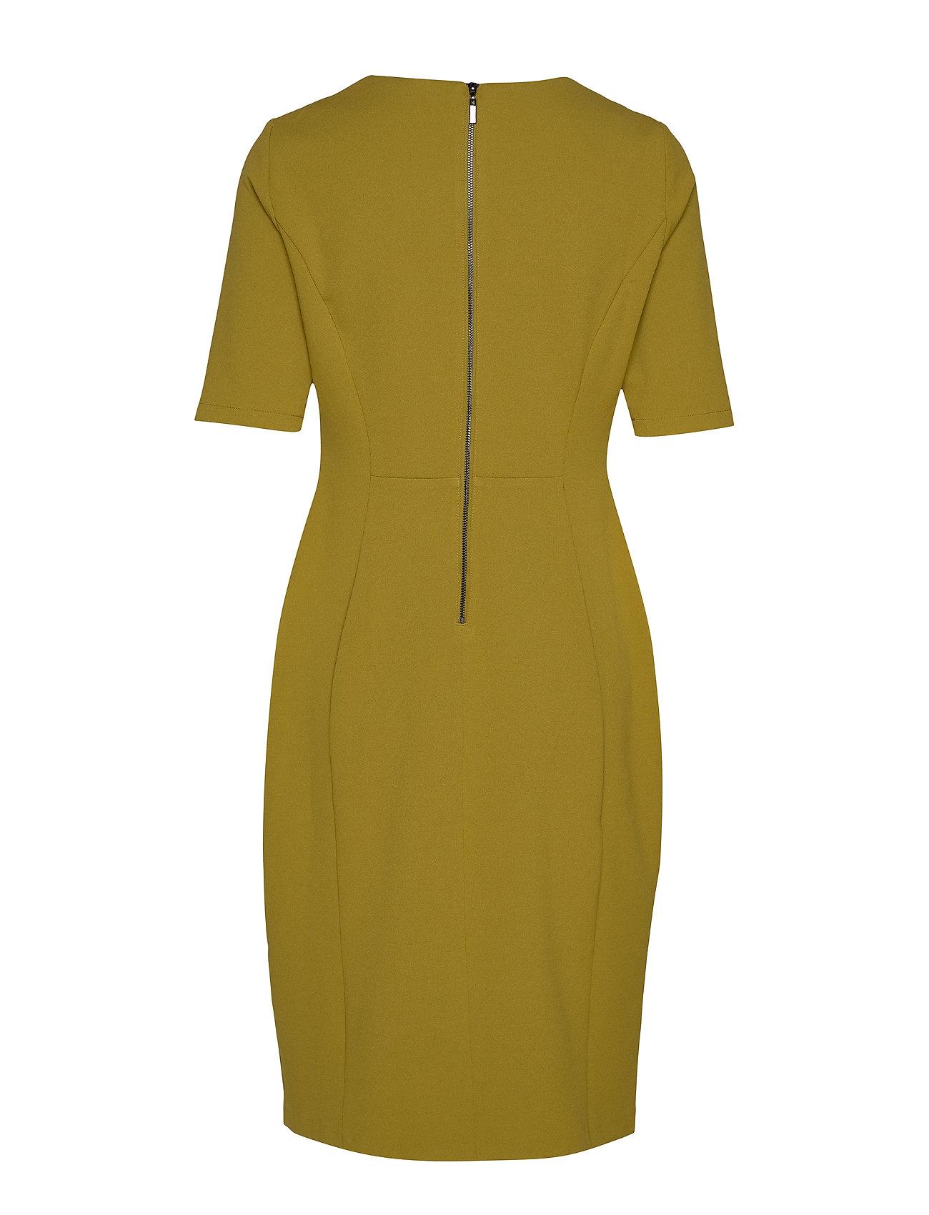 dress woven fabric kleid knielang gelb gerry weber | foccz