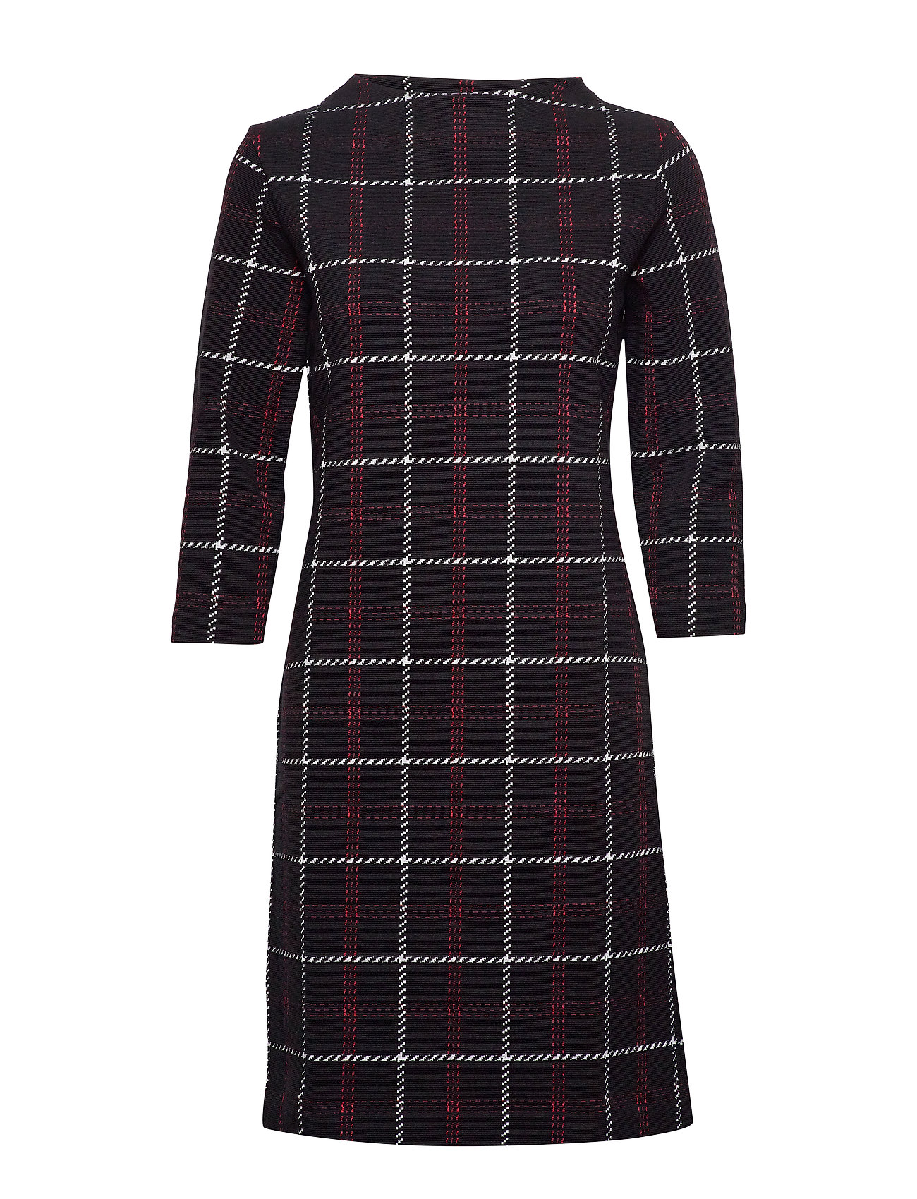 Gerry Weber DRESS KNITTED FABRIC - BLACK OFFWHITE RED CHECK
