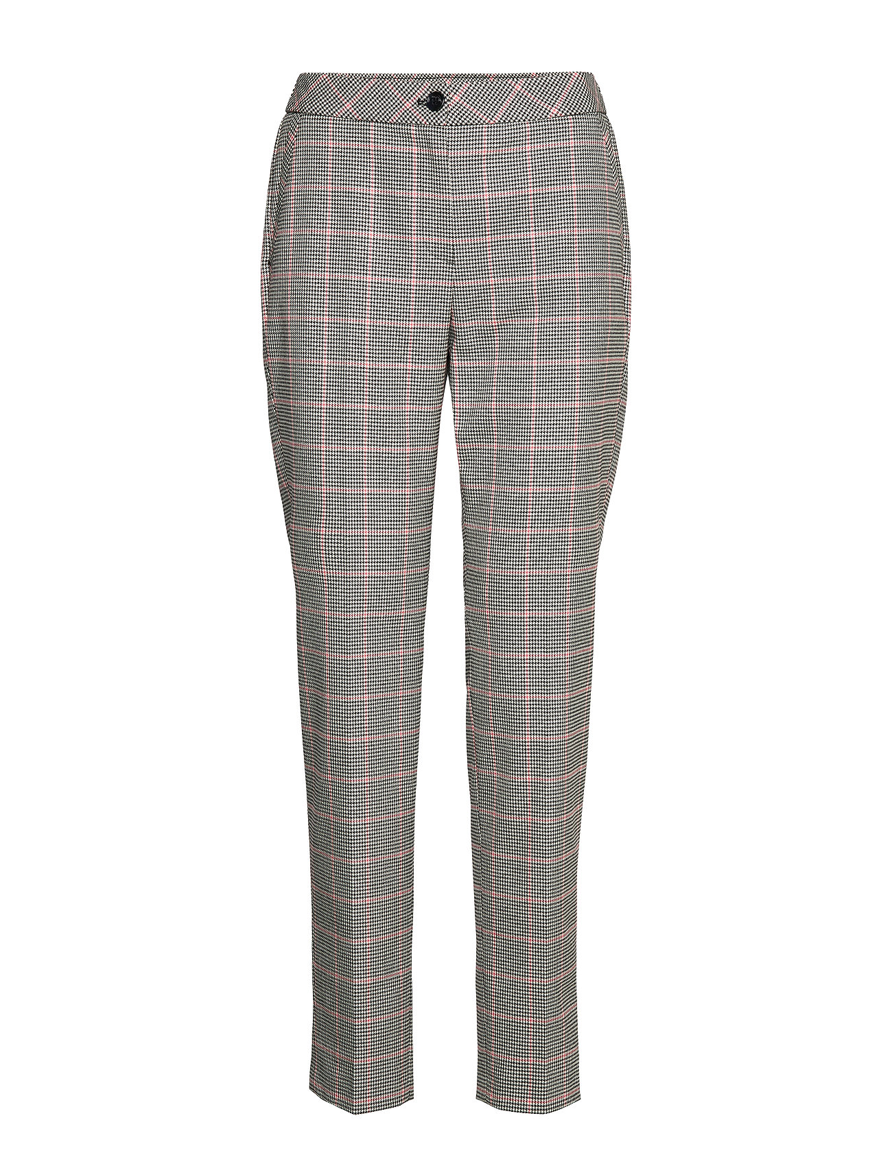 Gerry Weber LEISURE TROUSERS LON - BLACKOFFWHITESPICEDCORAL CHECK