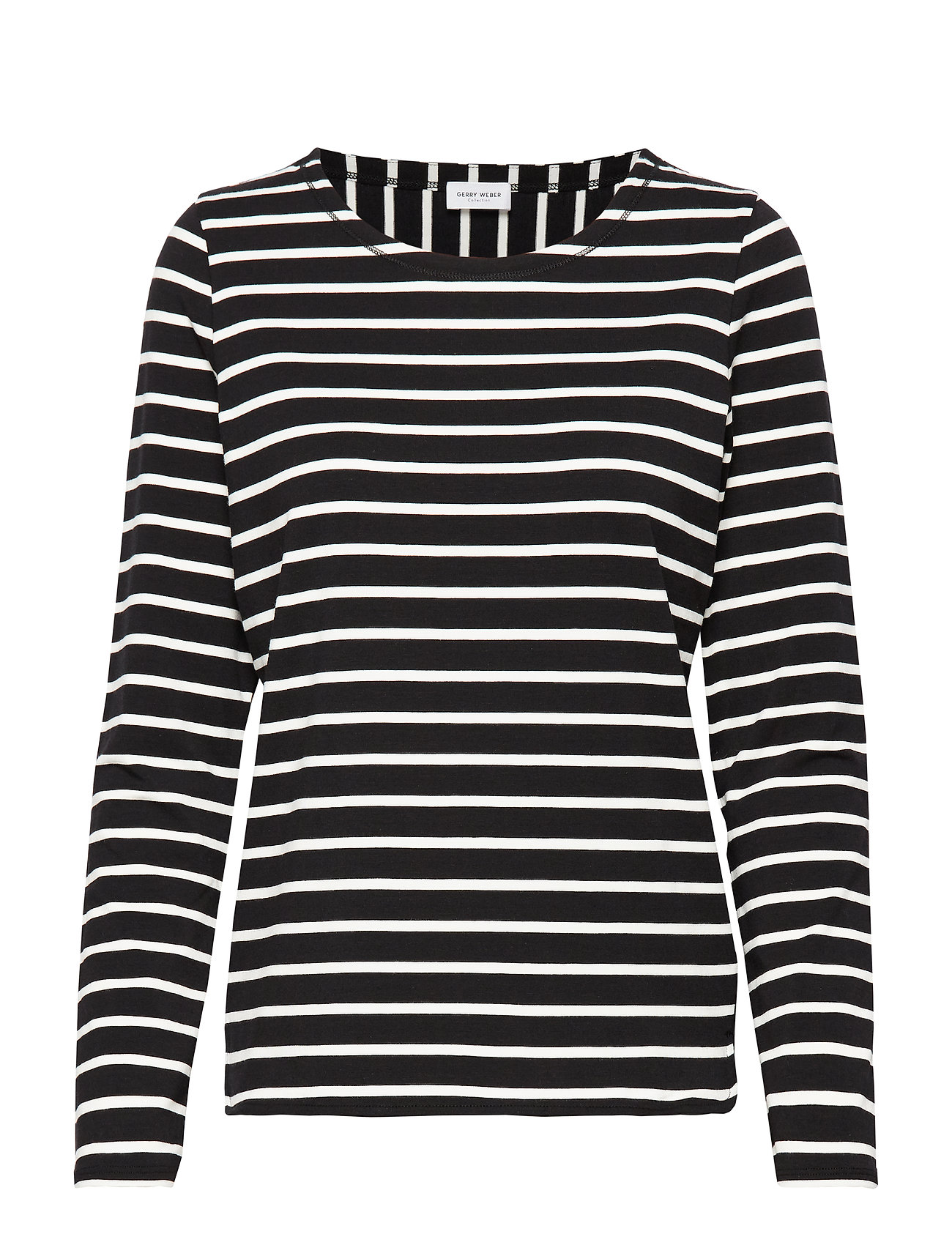 Gerry Weber T-SHIRT LONG-SLEEVE - BLACK/ECRU/WHITE HOOPS