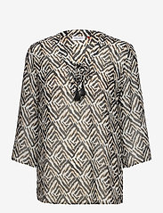 Gerry Weber - BLOUSE 3/4-SLEEVE - blouses à manches longues - ecru black sahara print - 0