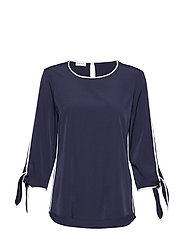 BLOUSE 3/4-SLEEVE - BLUE/ECRU/WHITE PATCH