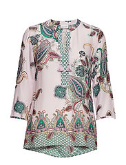 BLOUSE 3/4-SLEEVE - LILAC/PINK/GREEN PRINT