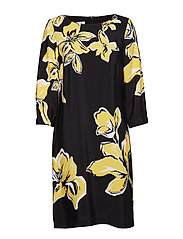 DRESS WOVEN FABRIC - BLACK/YELLOW PRINT