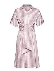 DRESS WOVEN FABRIC - ECRU/WHITE/LILAC/PINK STRIPES
