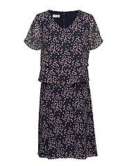 DRESS WOVEN FABRIC - BLUE/ BLUSH/ BRICK PRINT