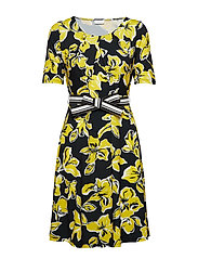 DRESS KNITTED FABRIC - BLACK/YELLOW PRINT