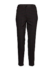 CROP LEISURE TROUSER - BLACK/RED/ORANGE CHECK