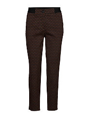 CROP LEISURE TROUSER - BLACK/BROWN MULTICOLOR