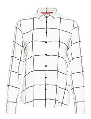 BLOUSE LONG-SLEEVE - ECRU/WHITE/BLACK CHECK