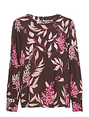BLOUSE LONG-SLEEVE - CHOCLATE/ PINK/ ECRU PRINT
