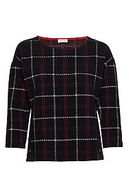 SWEAT-SHIRT SHORT-SL - BLACK OFFWHITE RED CHECK
