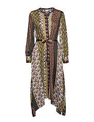 DRESS WOVEN FABRIC - ECRU/ PEA/ COGNAC PRINT