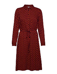 DRESS WOVEN FABRIC - FIERY RED RUBIN PRINT
