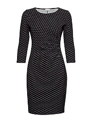DRESS KNITTED FABRIC - BLACK/ECRU/WHITE FIGURED