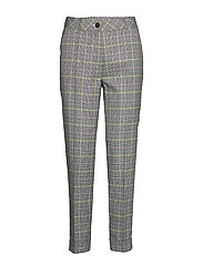 CROP LEISURE TROUSER - ECRU/WHITE/BLACK CHECK